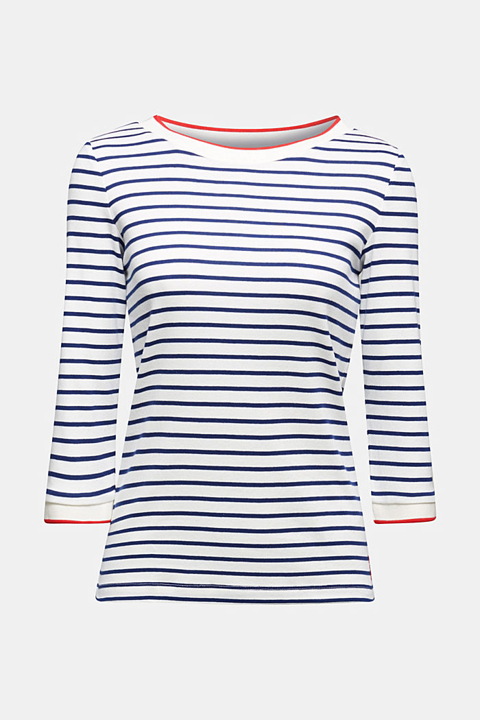 Striped top made of 100% organic cotton, OFF WHITE, detail image number 6