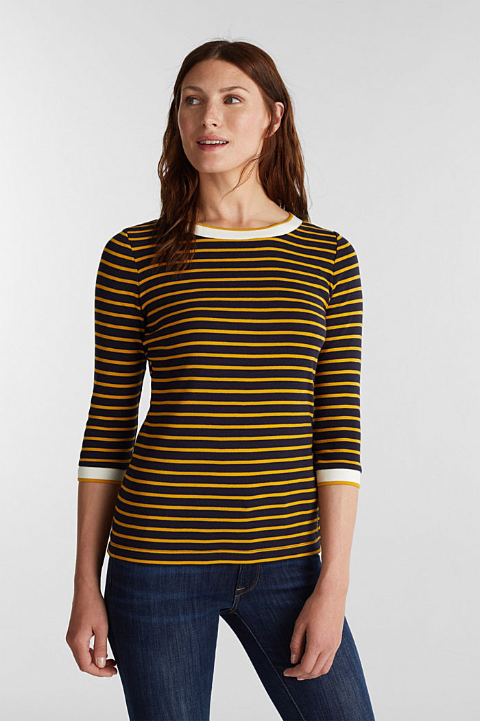 Striped top made of 100% organic cotton, NAVY, detail image number 0