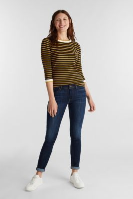 Striped top made of 100% organic cotton, NAVY, detail
