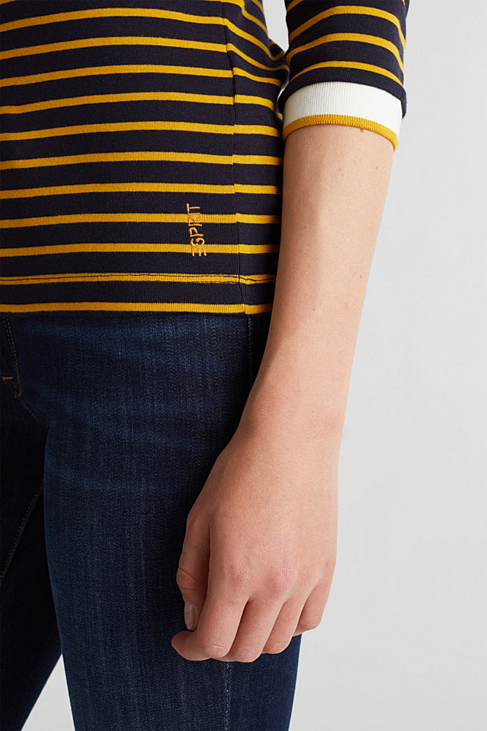 Striped top made of 100% organic cotton, NAVY, detail image number 2