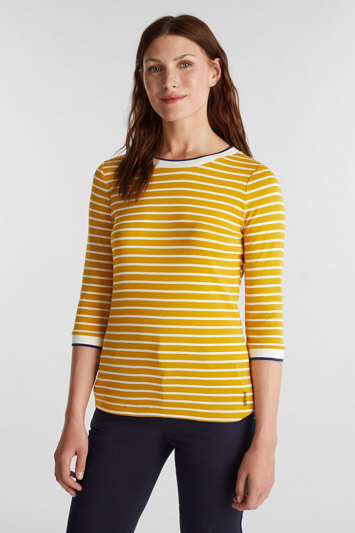 Striped top made of 100% organic cotton, BRASS YELLOW, detail image number 0