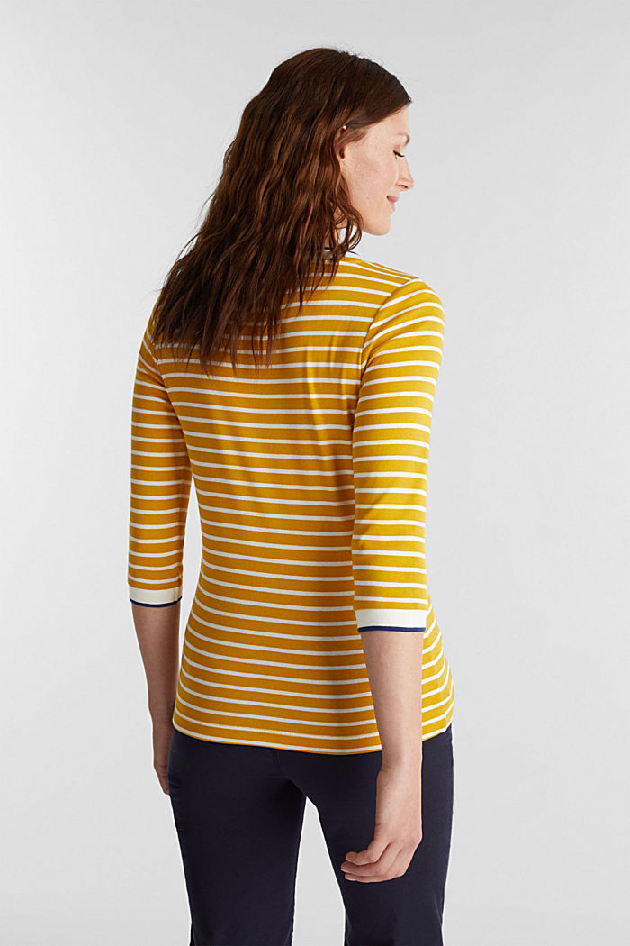 Striped top made of 100% organic cotton, BRASS YELLOW, detail image number 3