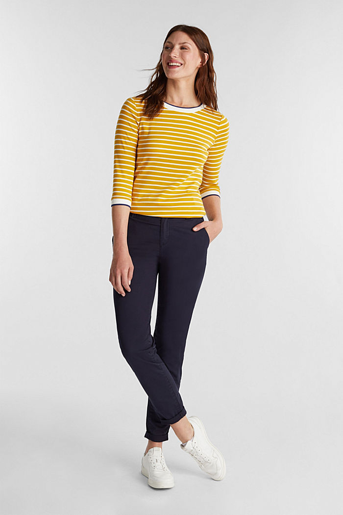 Striped top made of 100% organic cotton, BRASS YELLOW, detail image number 1