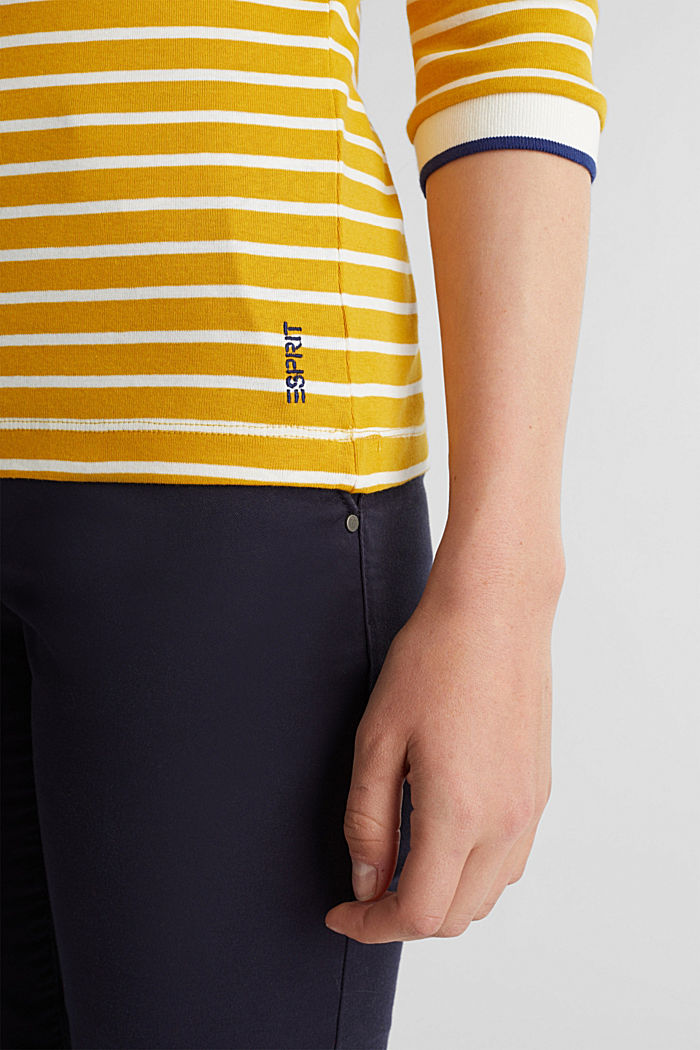 Striped top made of 100% organic cotton, BRASS YELLOW, detail image number 5