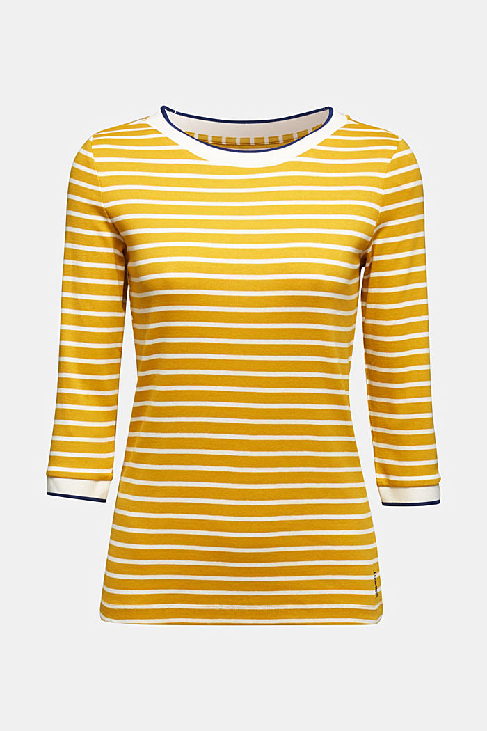 Striped top made of 100% organic cotton, BRASS YELLOW, detail image number 6