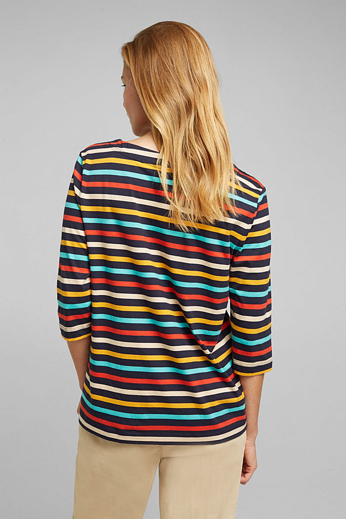 Striped top made of 100% organic cotton, NAVY, detail image number 3