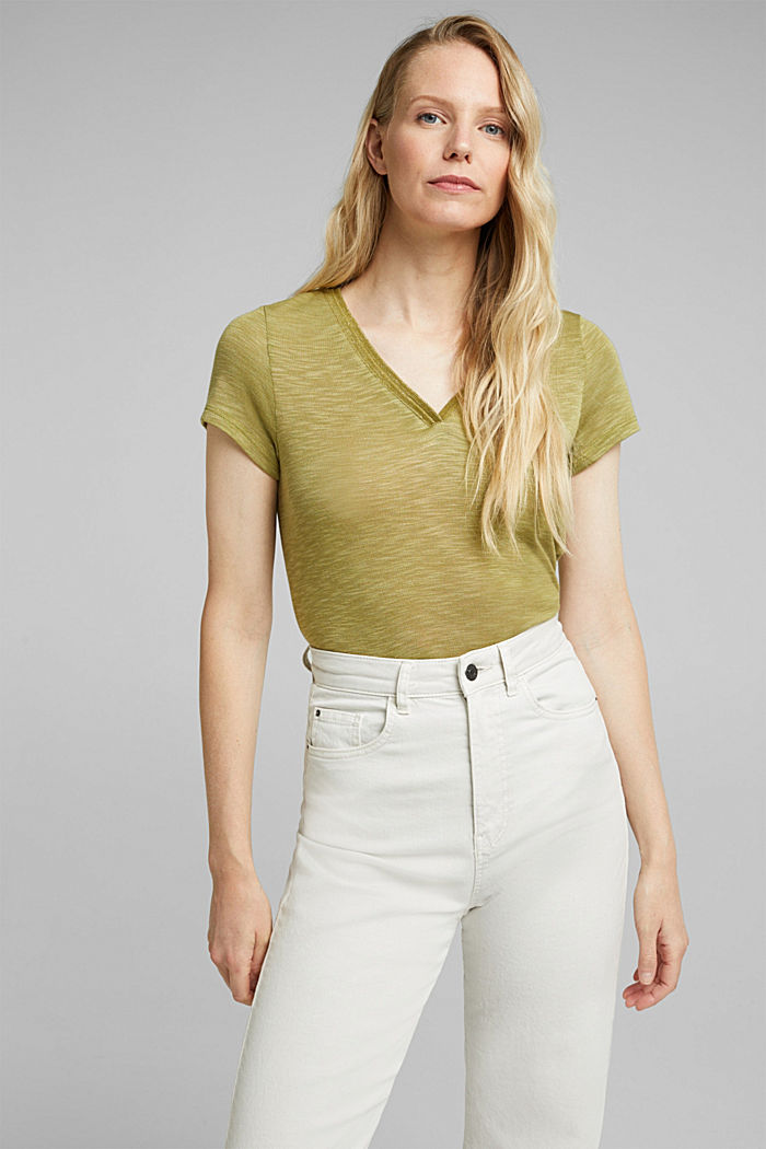Jersey-Shirt mit Glitzer-Fäden, OLIVE, detail image number 4