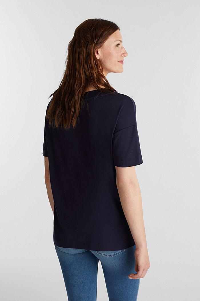 2nd Skin T-Shirt aus Lyocell-Stretch, NAVY, detail image number 2