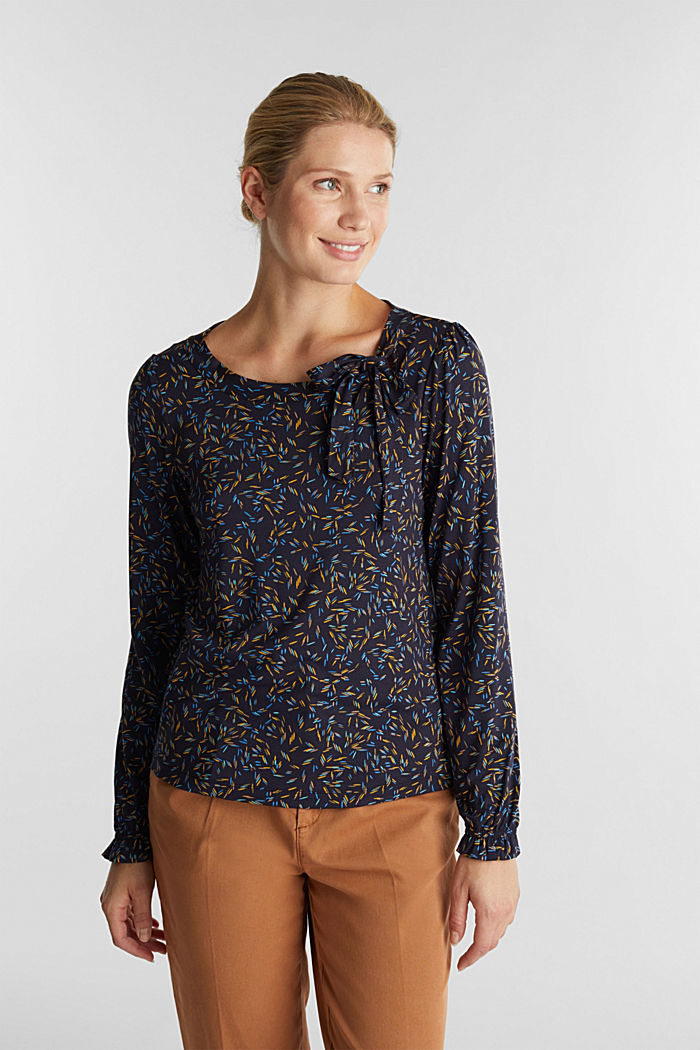 Long sleeve top with a bow detail, NAVY, detail image number 0