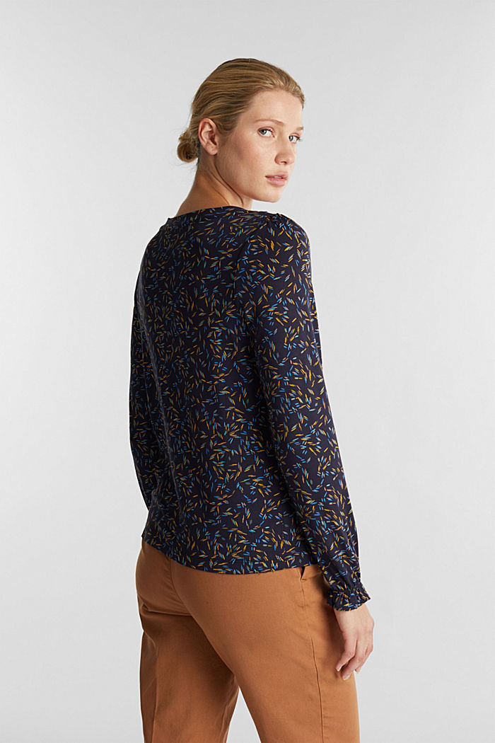 Long sleeve top with a bow detail, NAVY, detail image number 3