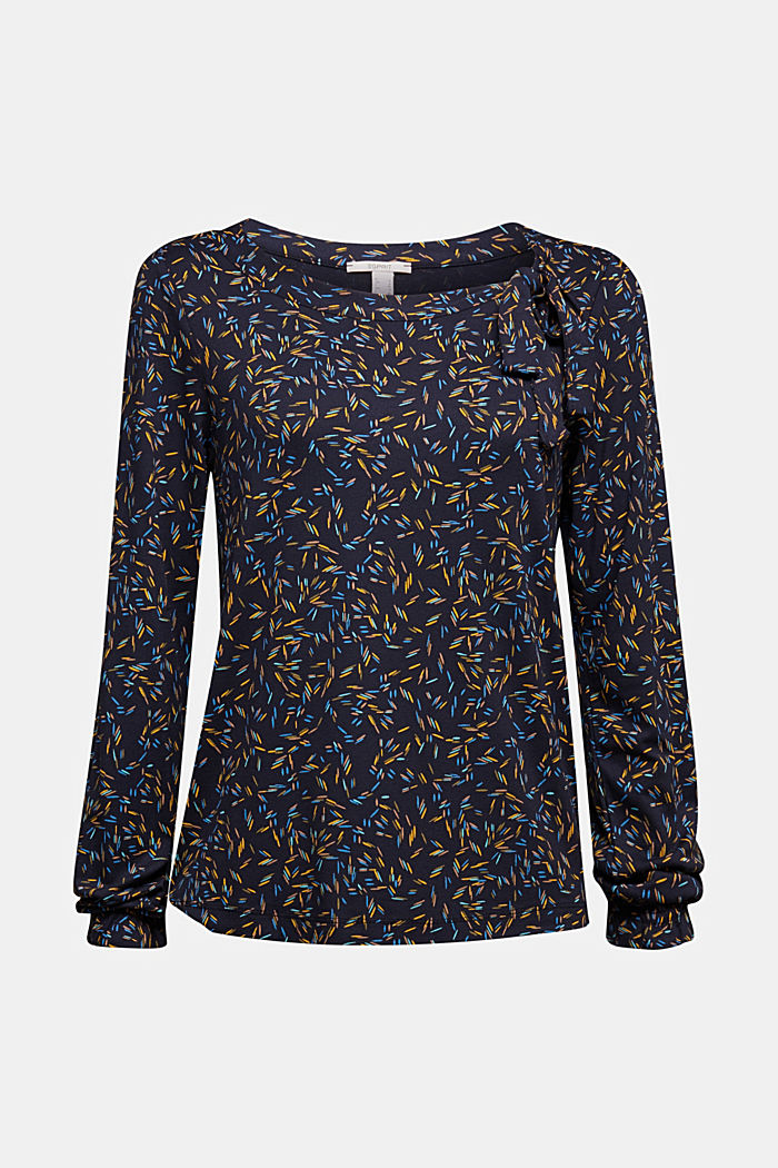 Long sleeve top with a bow detail, NAVY, detail image number 5