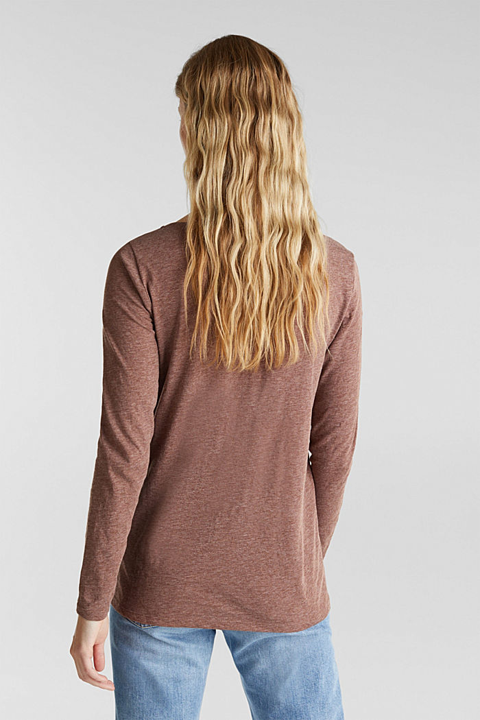 Melange long sleeve top with a bateau neckline, BROWN, detail image number 3
