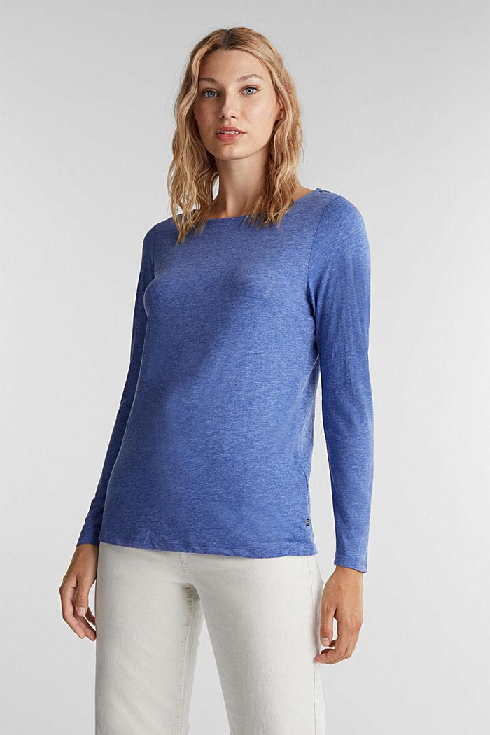 Camiseta de manga larga jaspeada con cuello barco, BRIGHT BLUE, detail image number 0