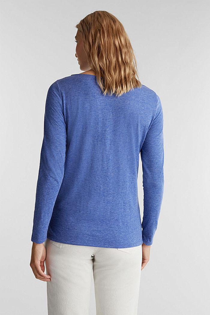 Camiseta de manga larga jaspeada con cuello barco, BRIGHT BLUE, detail image number 3