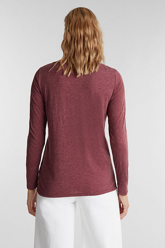 Melange long sleeve top with a bateau neckline, BORDEAUX RED, detail image number 3