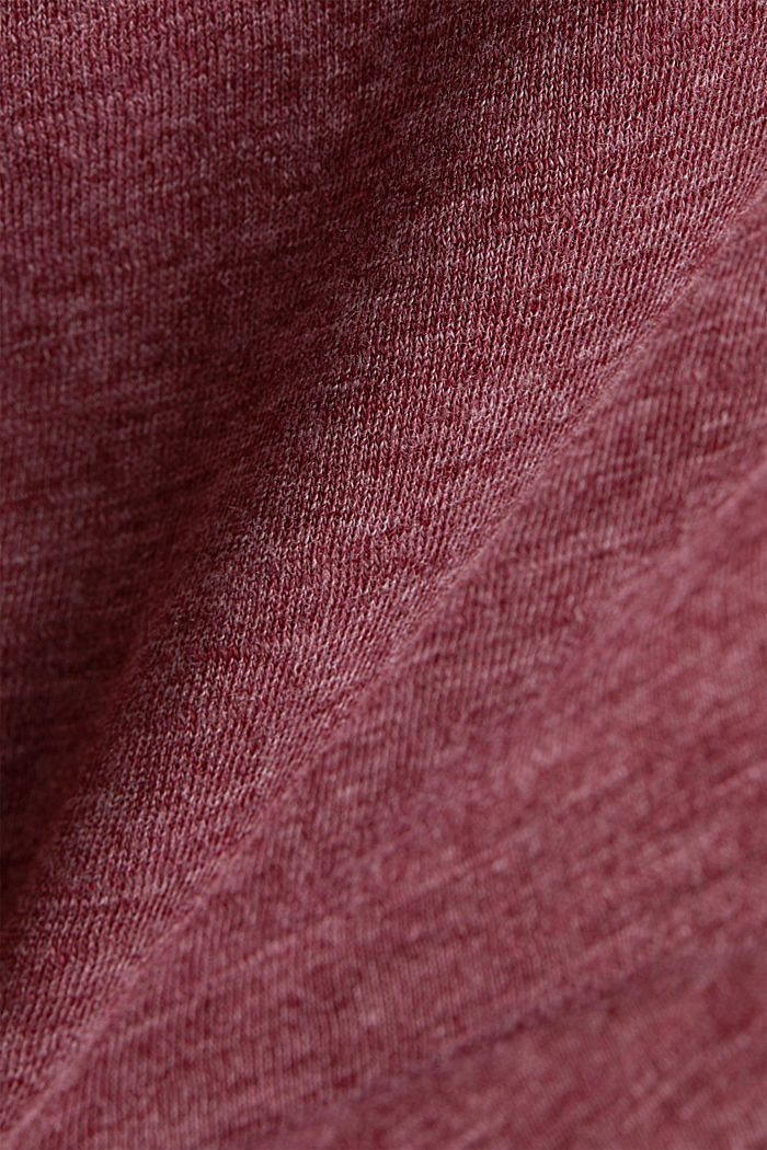 Melange long sleeve top with a bateau neckline, BORDEAUX RED, detail image number 4