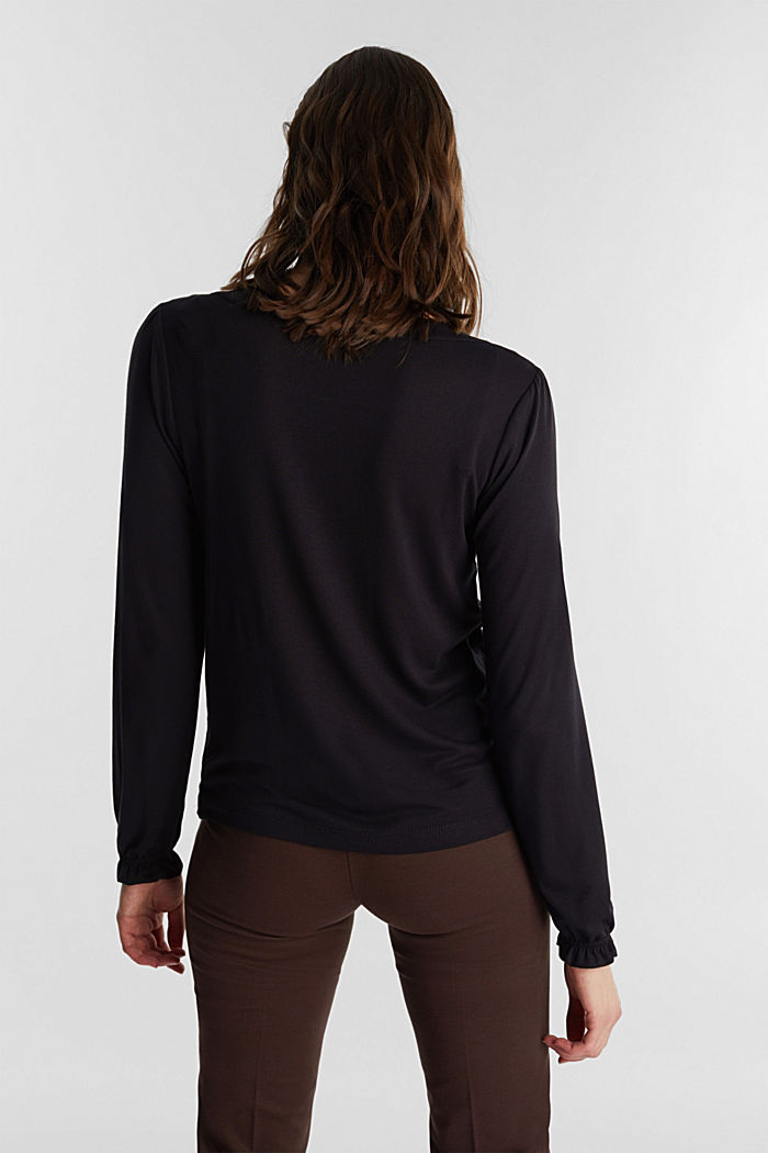 Long sleeve top with a bow, LENZING™ ECOVERO™, BLACK, detail image number 3