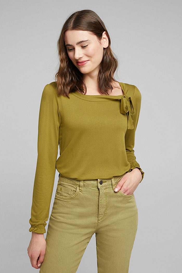 Long sleeve top with a bow, LENZING™ ECOVERO™, OLIVE, detail image number 0