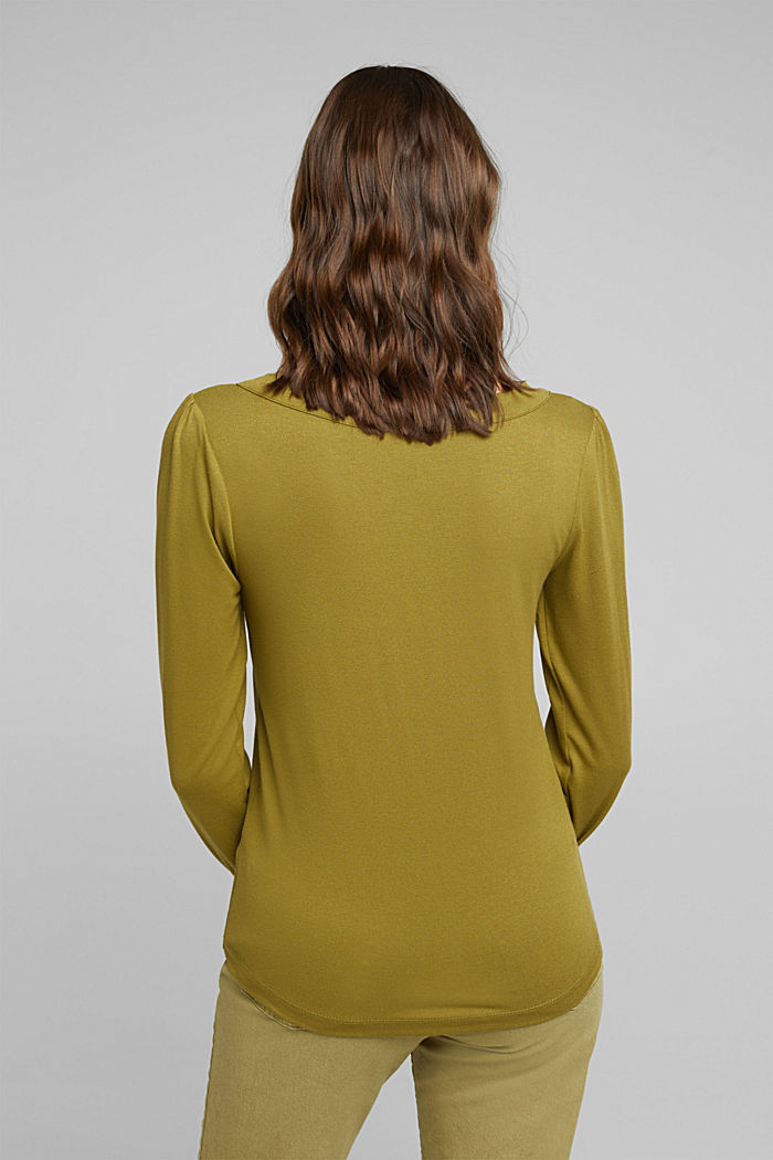 Long sleeve top with a bow, LENZING™ ECOVERO™, OLIVE, detail image number 3
