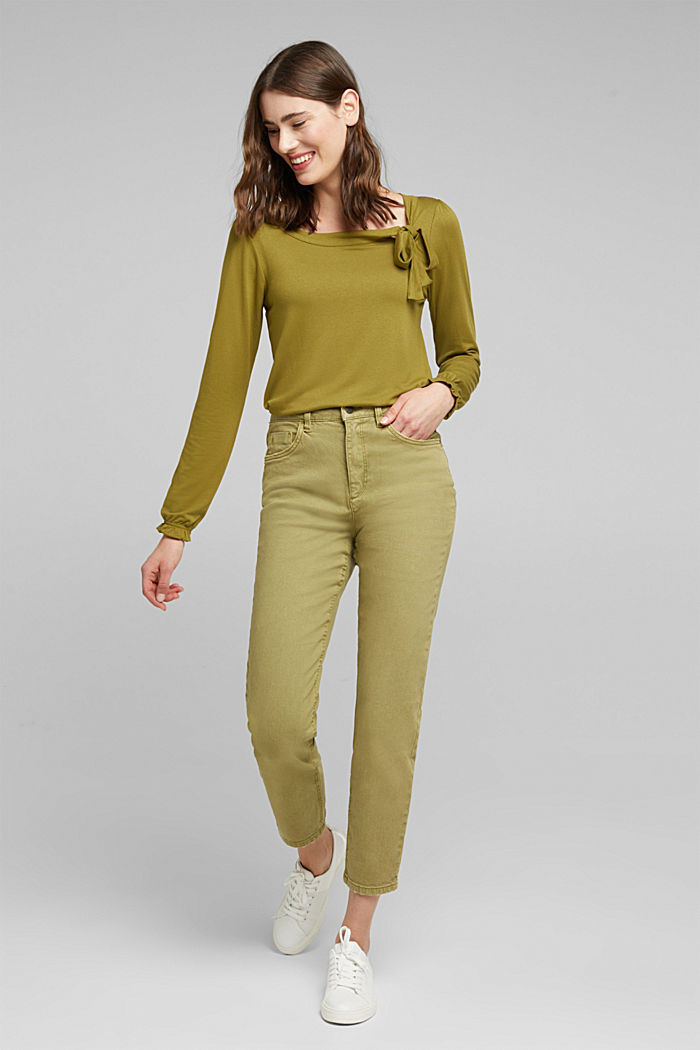 Long sleeve top with a bow, LENZING™ ECOVERO™, OLIVE, detail image number 1