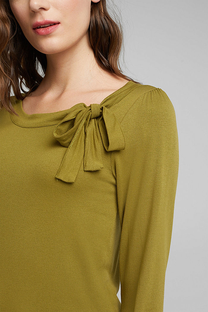 Long sleeve top with a bow, LENZING™ ECOVERO™, OLIVE, detail image number 2