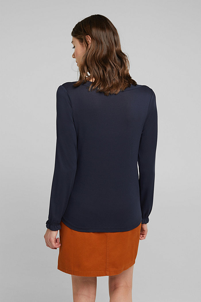 Long sleeve top with a bow, LENZING™ ECOVERO™, NAVY, detail image number 3