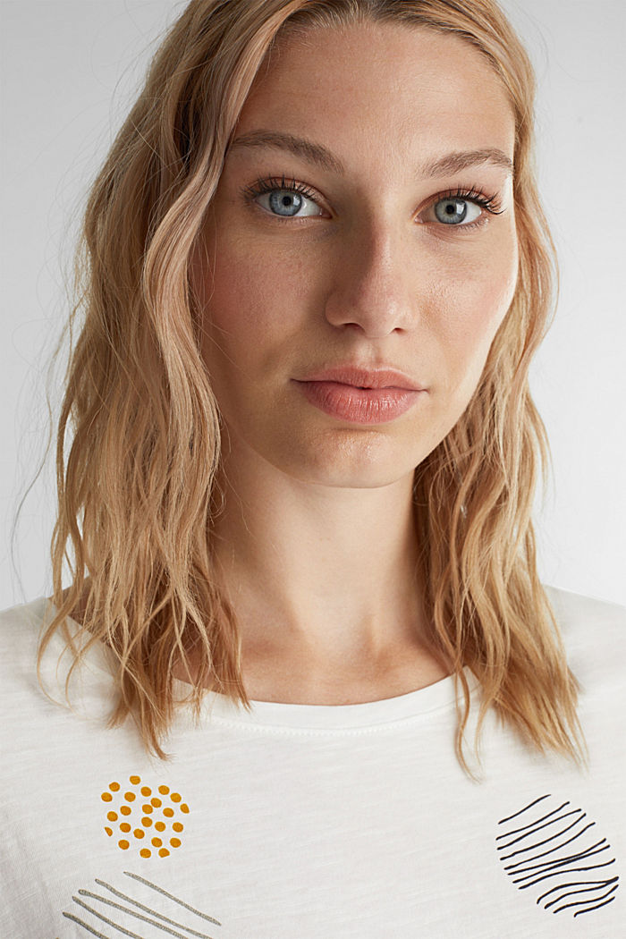 Printed T-shirt in 100% organic cotton, OFF WHITE, detail image number 5