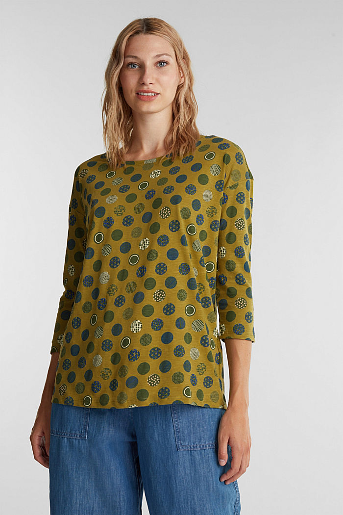 Printed T-shirt in 100% organic cotton, OLIVE, detail image number 0
