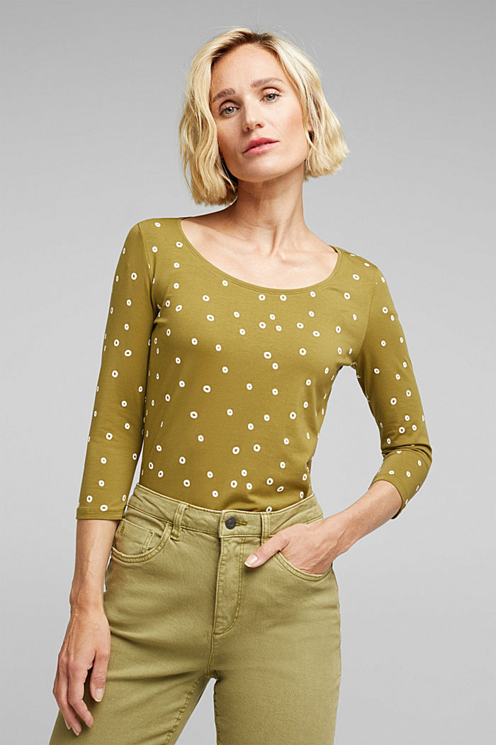 Organic cotton print T-shirt, OLIVE, detail image number 0