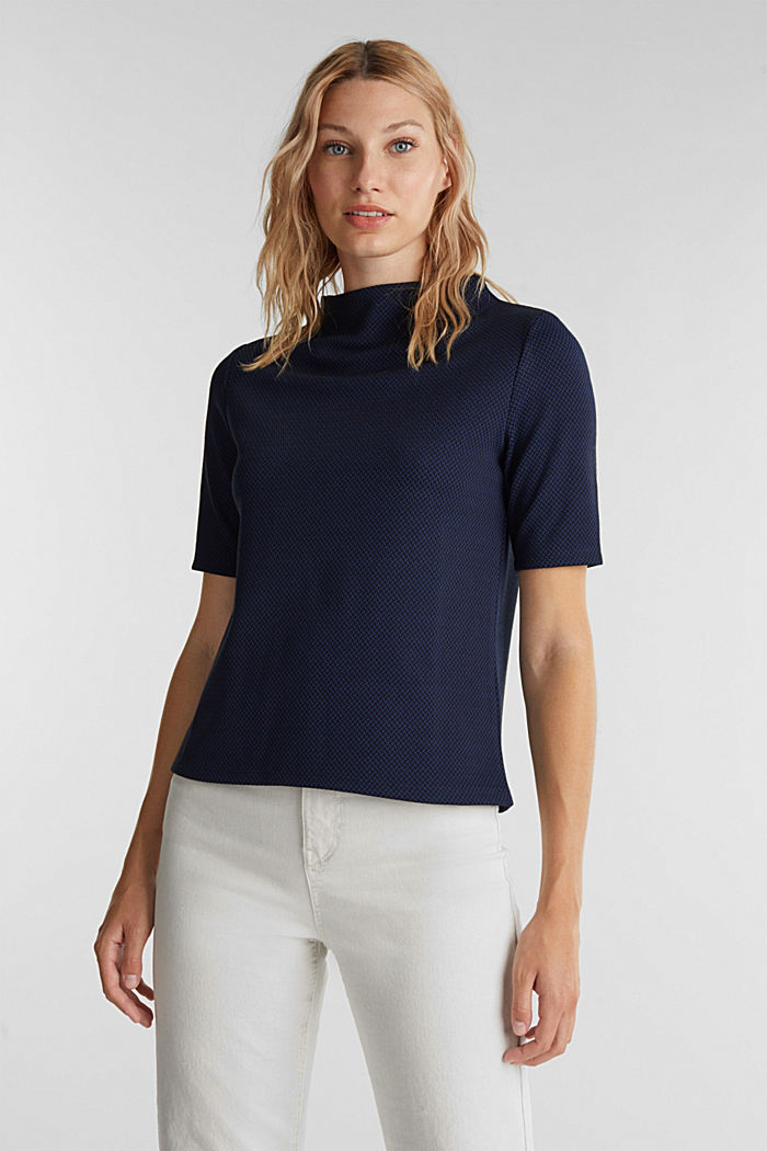 Stretch top with a jacquard pattern, DARK BLUE, overview