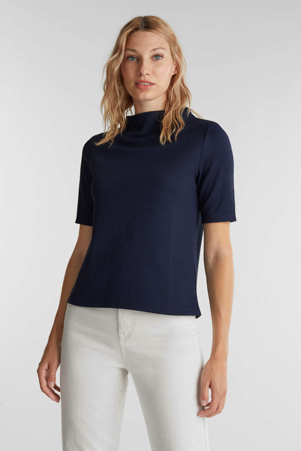 Esprit - Stretch top with a jacquard pattern
