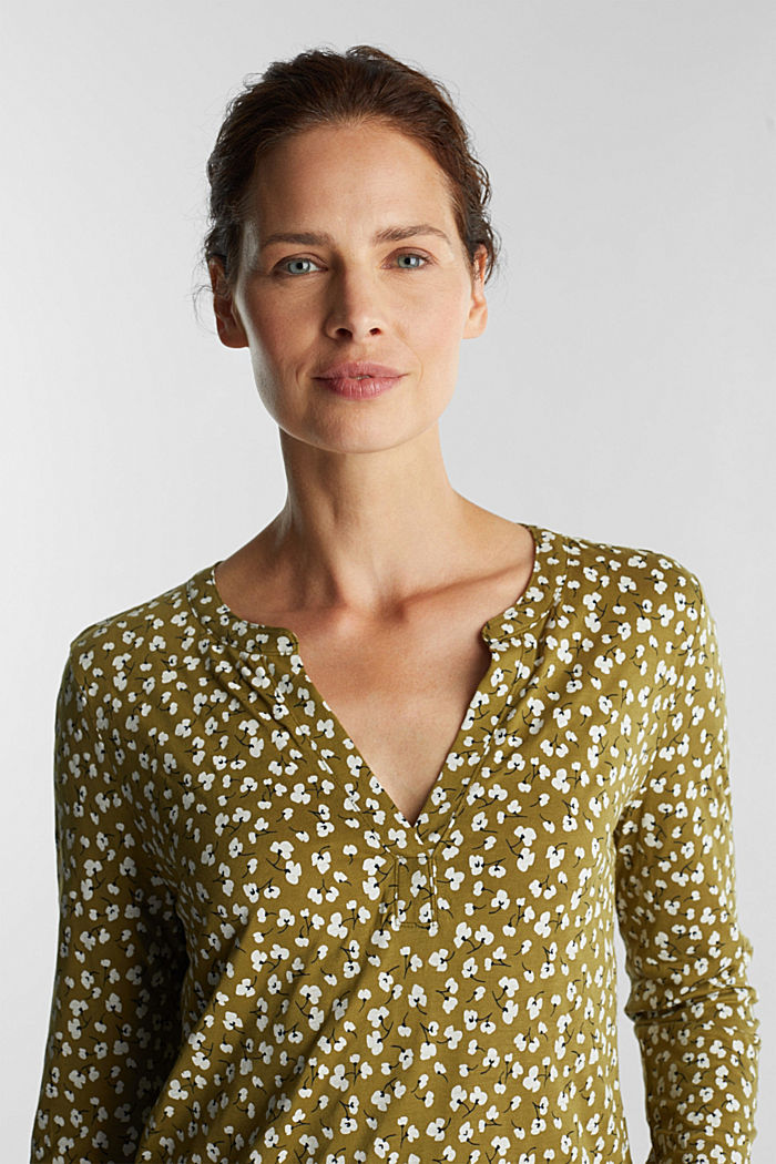 Long sleeve top made of LENZING™ ECOVERO™, OLIVE, overview