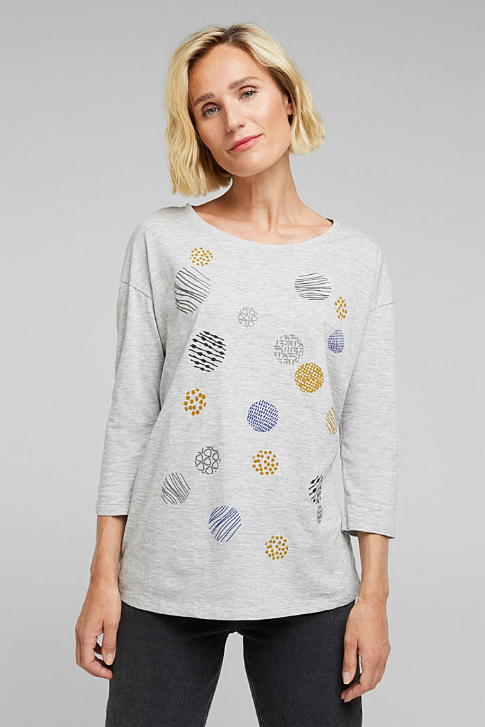 Printed long sleeve top, organic cotton, LIGHT GREY, detail image number 0