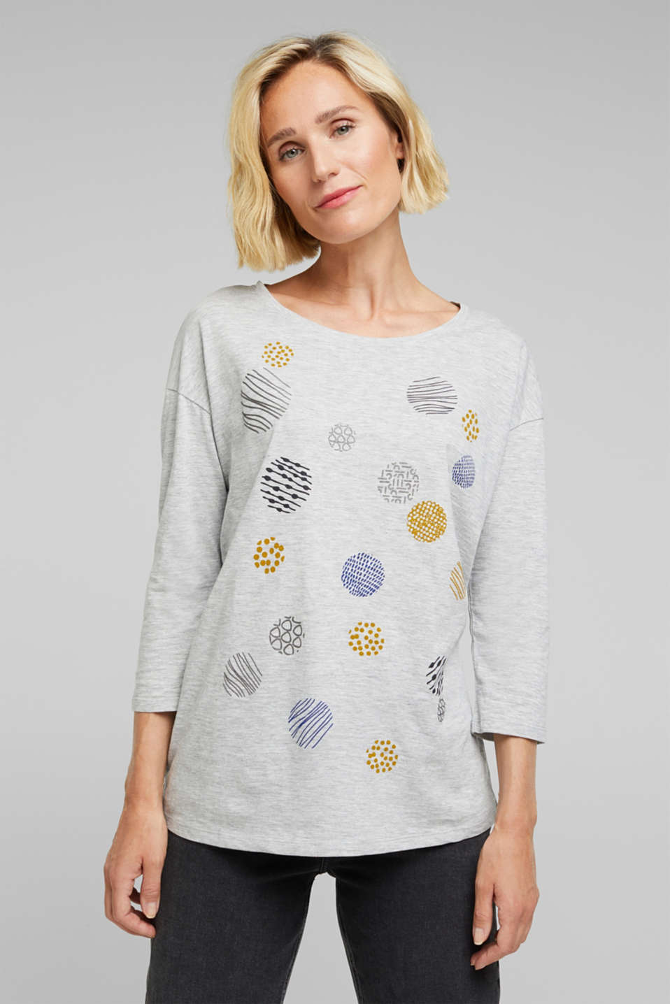 Esprit - Printed long sleeve top, organic cotton