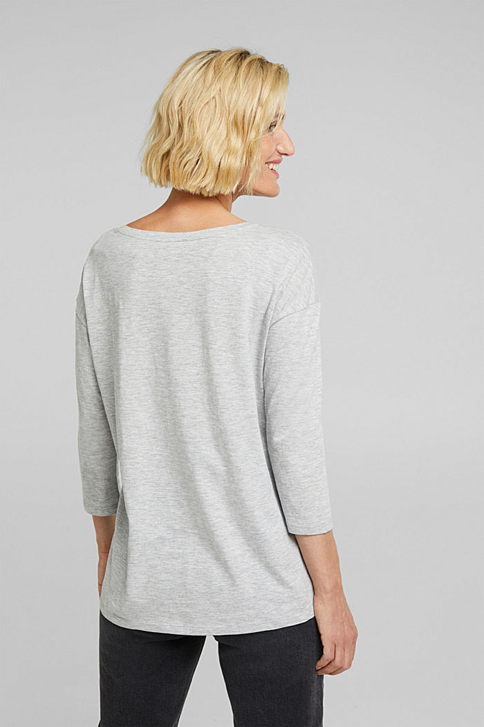 Printed long sleeve top, organic cotton, LIGHT GREY, detail image number 2