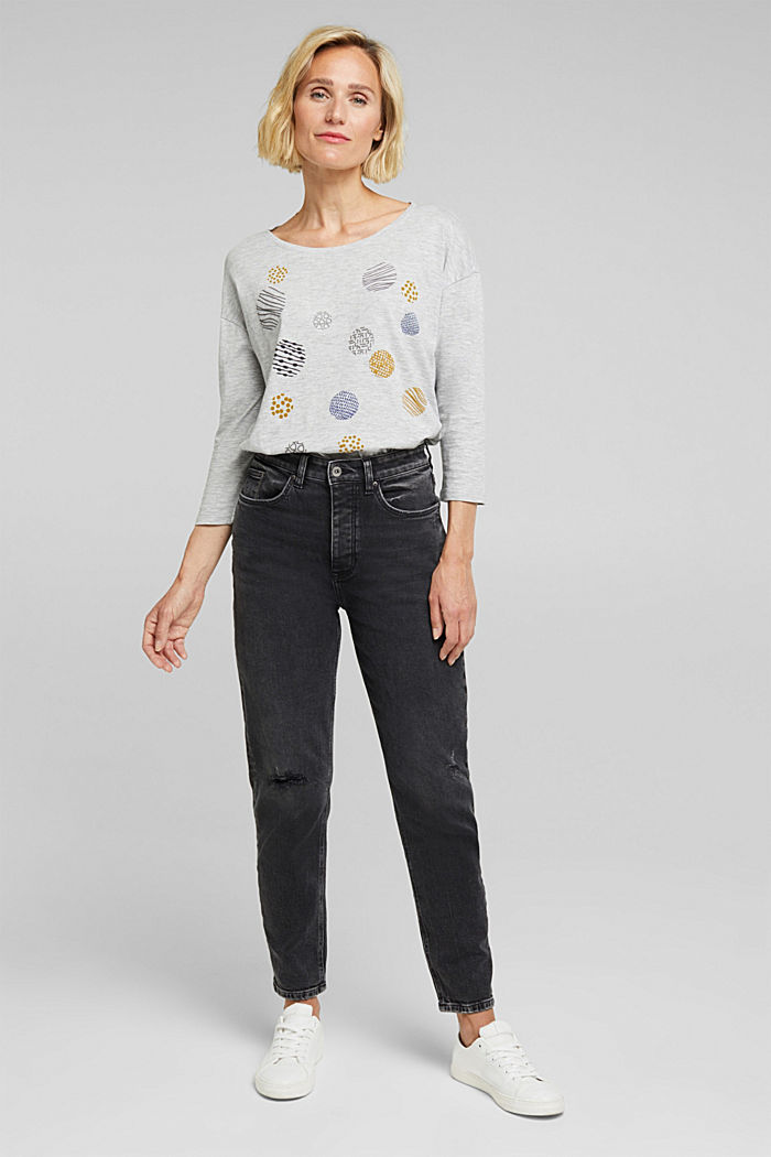Printed long sleeve top, organic cotton, LIGHT GREY, detail image number 4