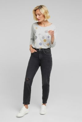 Printed long sleeve top, organic cotton, LIGHT GREY 5, detail