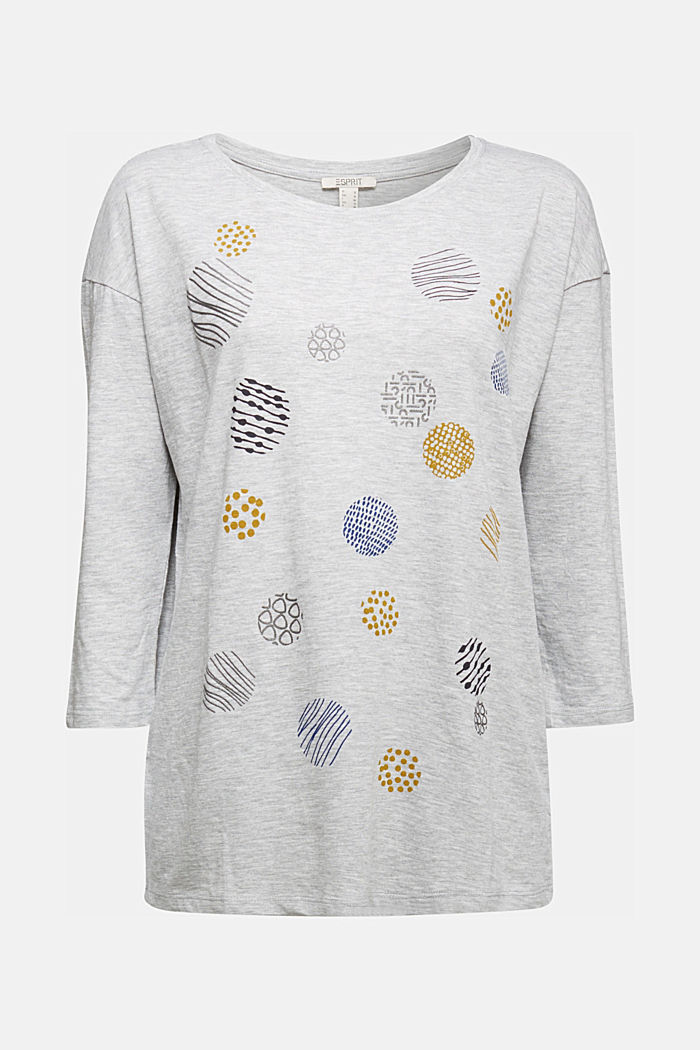 Printed long sleeve top, organic cotton, LIGHT GREY, detail image number 6