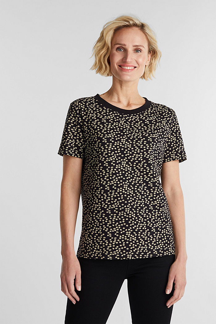 Recycled: printed T-shirt in 100% cotton, BLACK, detail image number 0