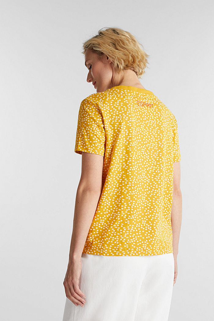 Recycled: printed T-shirt in 100% cotton, BRASS YELLOW, detail image number 3
