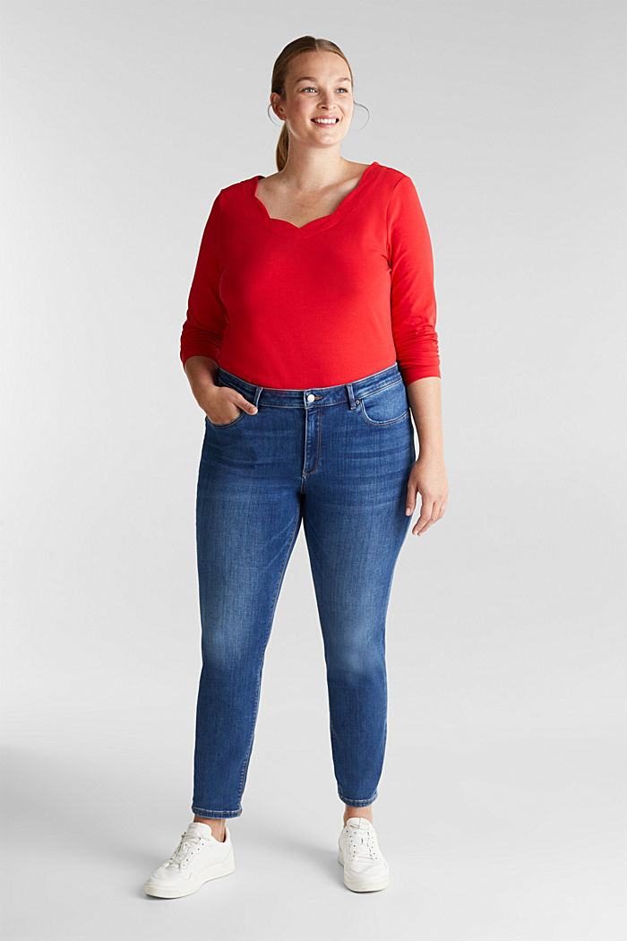 CURVY top with wavy details, RED, detail image number 1