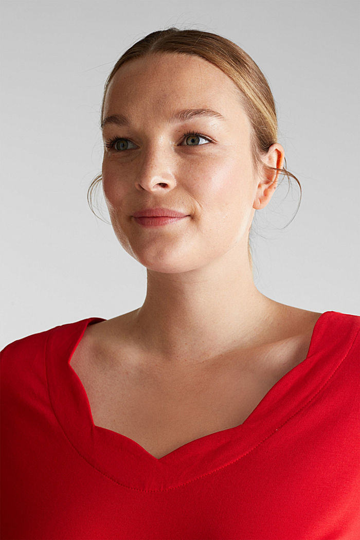 CURVY top with wavy details, RED, detail image number 5