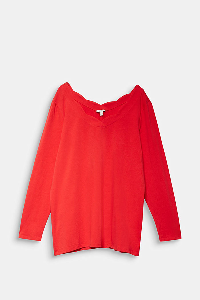 CURVY top with wavy details, RED, detail image number 6