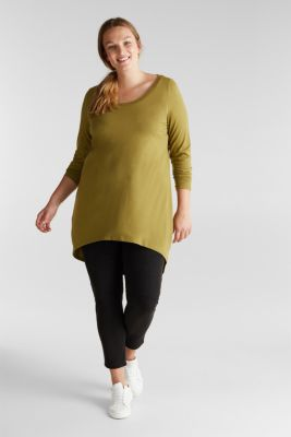 Curvy long top with organic cotton, OLIVE, detail