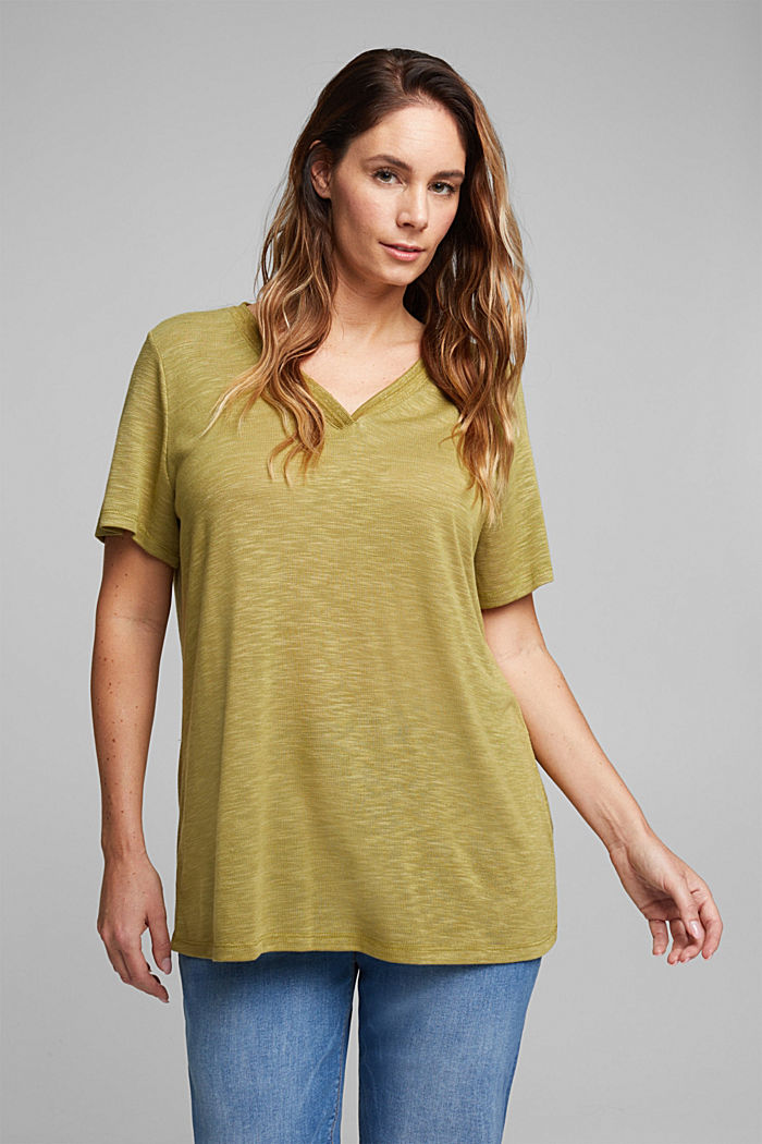 CURVY T-shirt with a glitter detail, OLIVE, detail image number 0