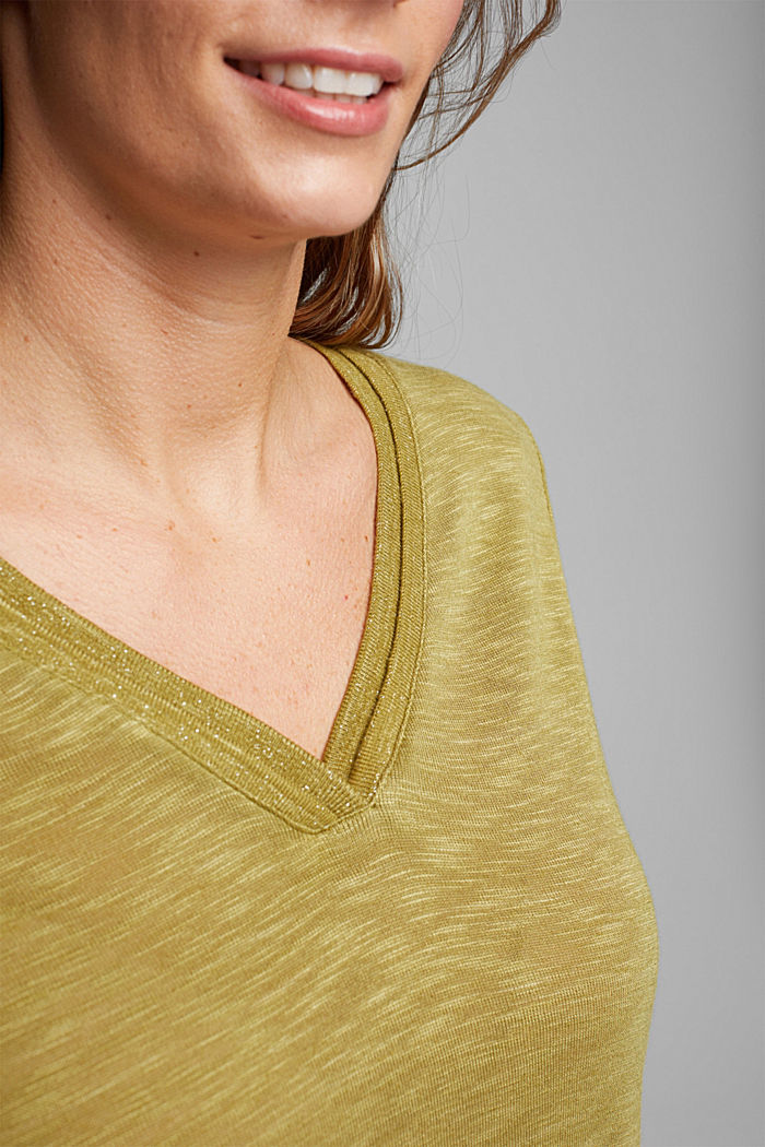 CURVY T-shirt with a glitter detail, OLIVE, detail image number 2