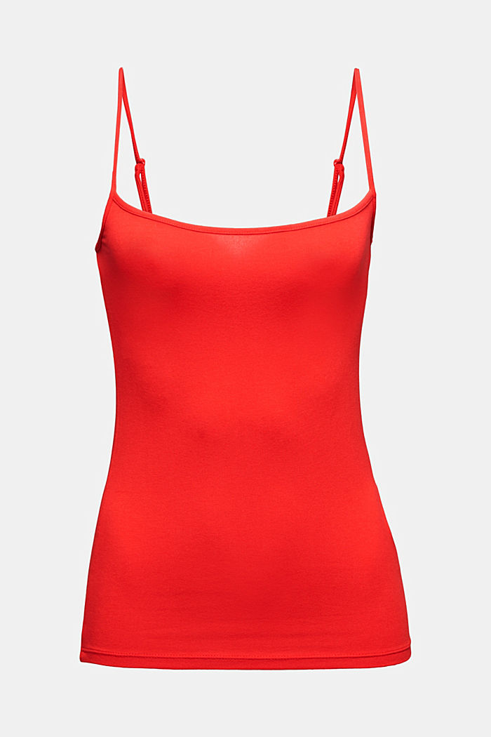 Spaghetti strap top made of jersey, RED, detail image number 6
