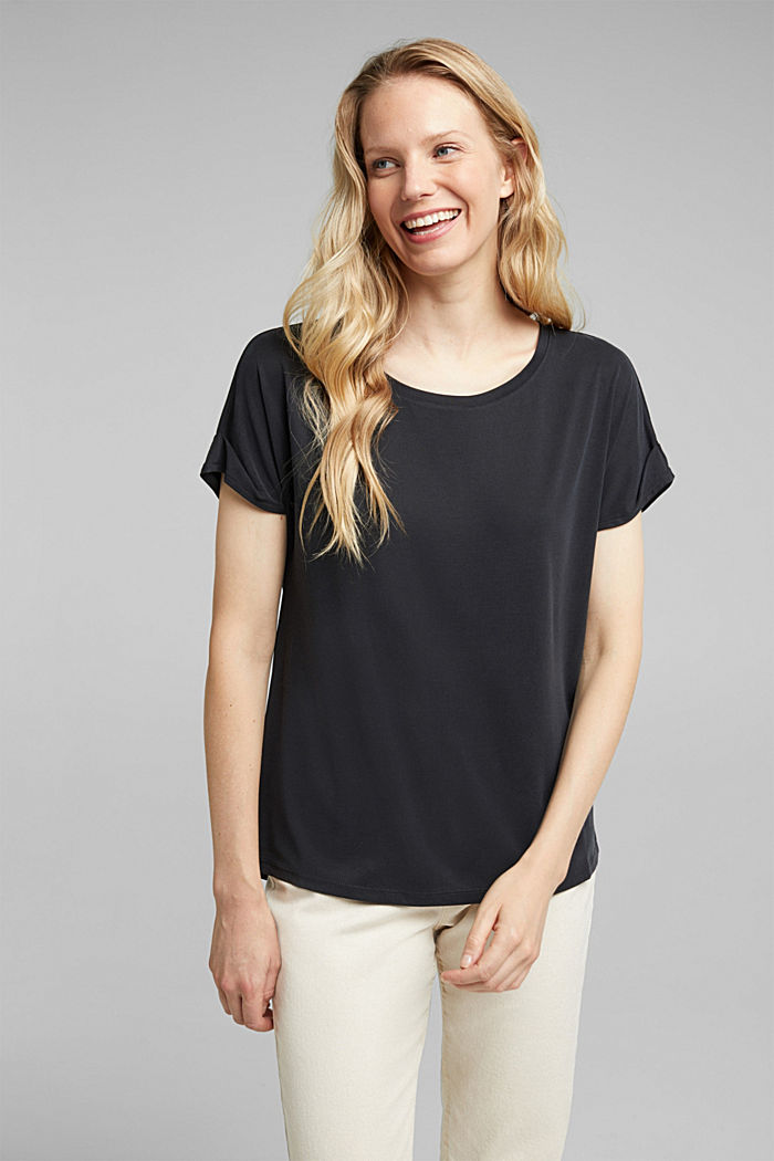 T-shirt with draped sleeves, DARK GREY, detail image number 0
