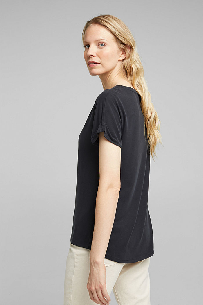 T-shirt with draped sleeves, DARK GREY, detail image number 3