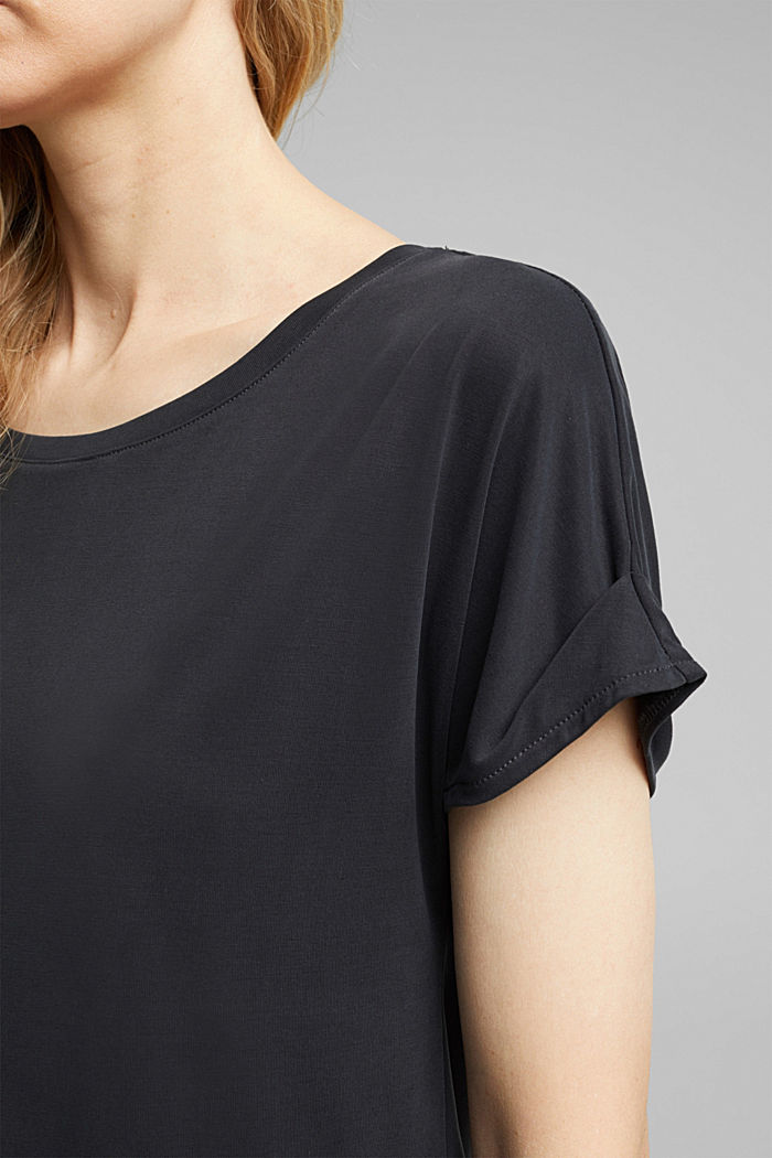 T-shirt with draped sleeves, DARK GREY, detail image number 2